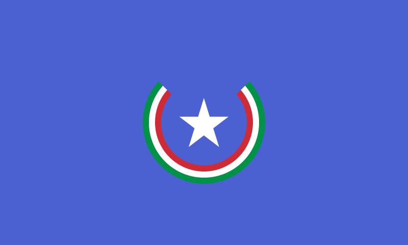 Bandiera d'Italia con Stellone e corona d'alloro tricolore
