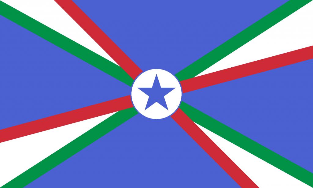 Bandiera d'Italia con stella raggiante