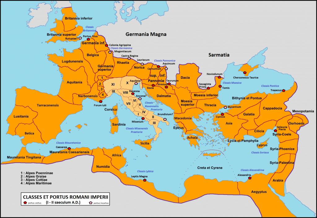 Elenco dei maggiori porti romani, in cui si vedono anche le regioni augustee in cui era divisa l'Italia